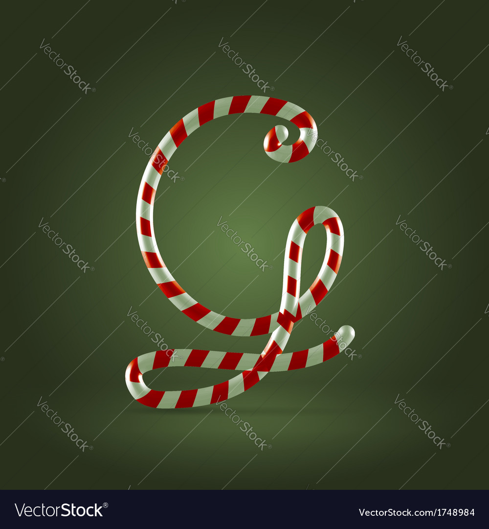 Candy cane abc g vector | Price:  Credit (USD $)
