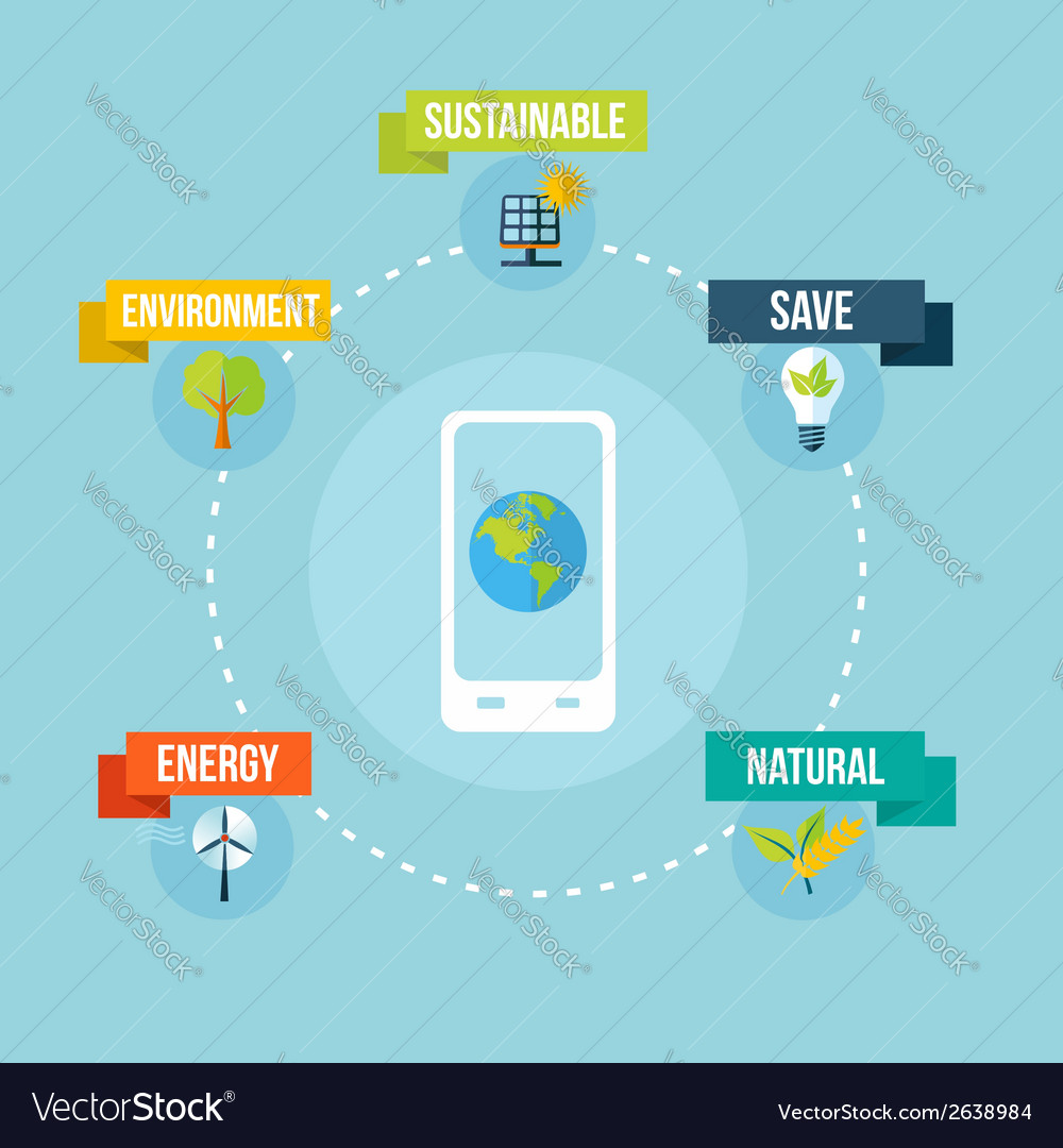 Ecology and mobile phone app flat design concept vector | Price: 1 Credit (USD $1)
