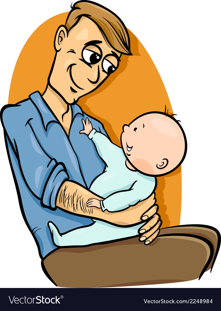 Father with baby cartoon vector | Price: 1 Credit (USD $1)