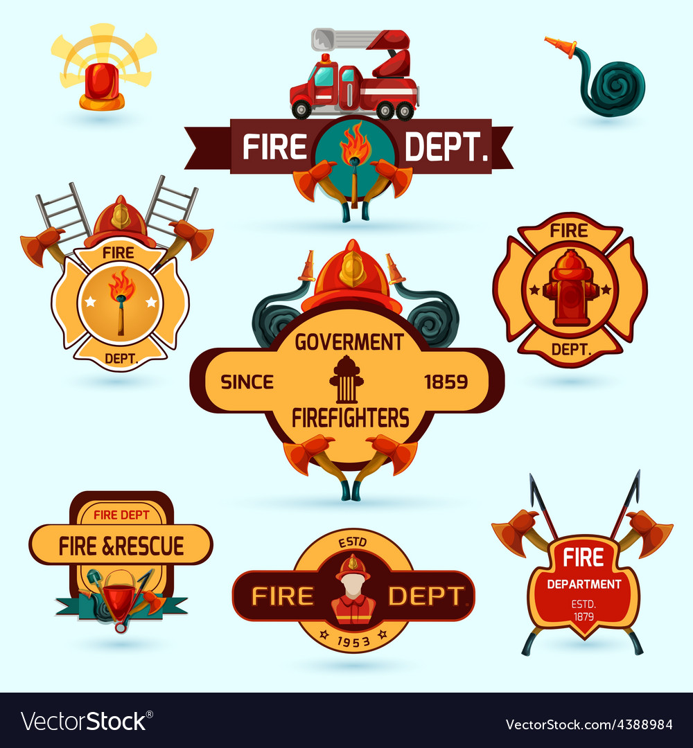 Firefighter emblems set vector | Price: 1 Credit (USD $1)