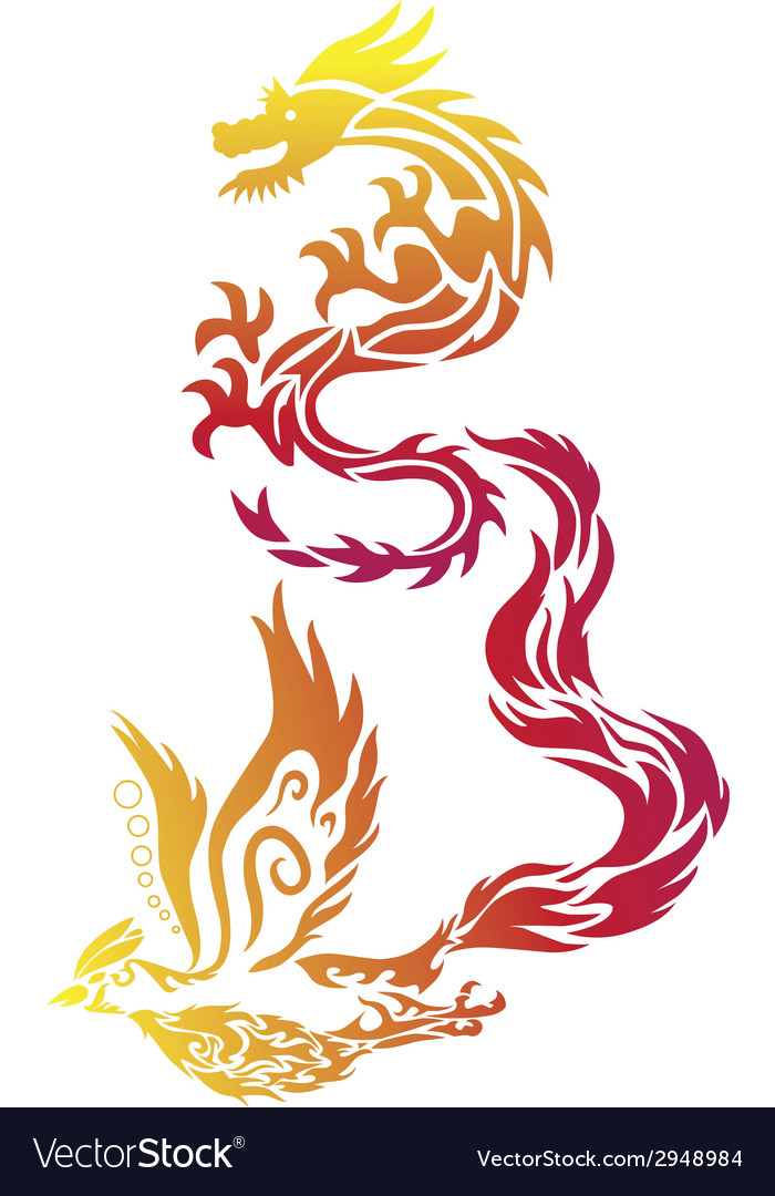 Flying dragon phoenix chinese style paper cut vector | Price: 1 Credit (USD $1)