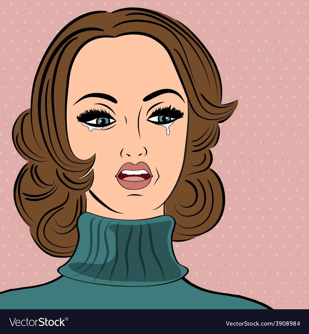 Pop art sad retro woman in comics style with vector | Price: 1 Credit (USD $1)