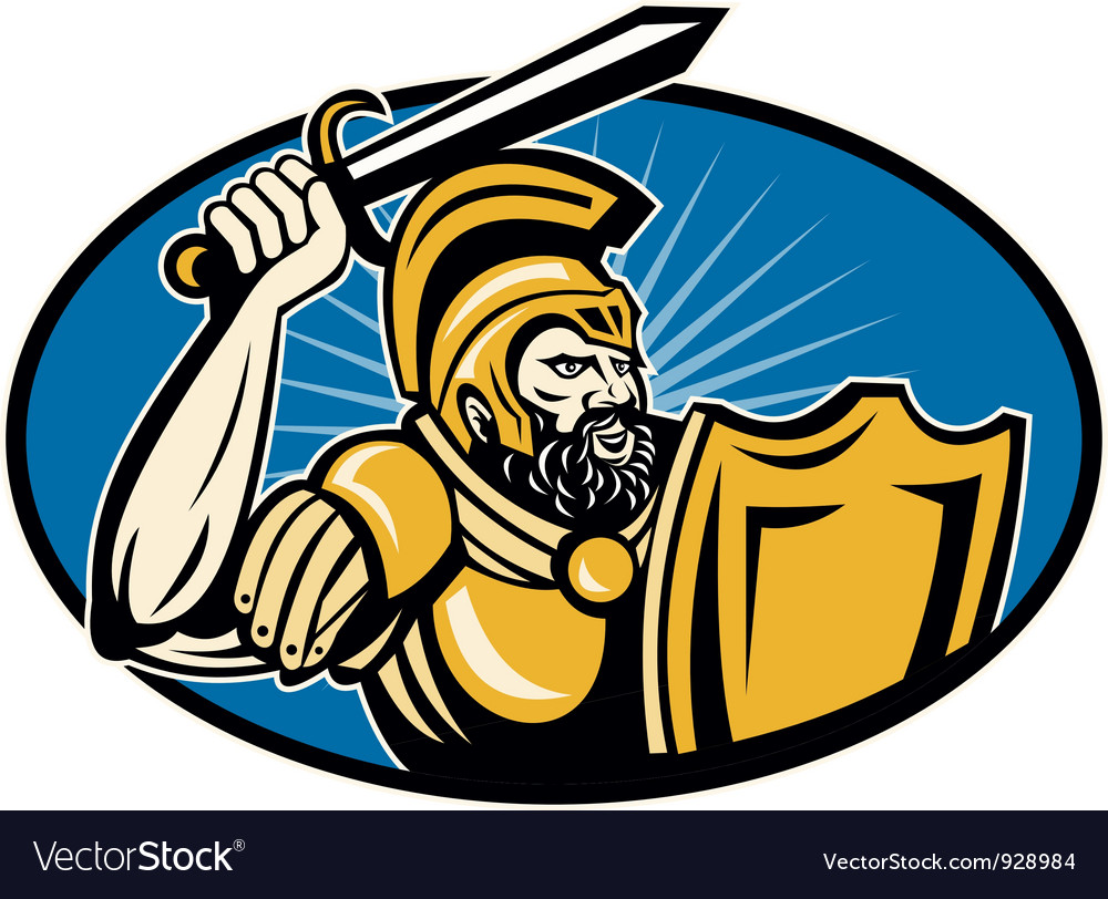 Roman centurion soldier with sword and shield vector | Price: 3 Credit (USD $3)