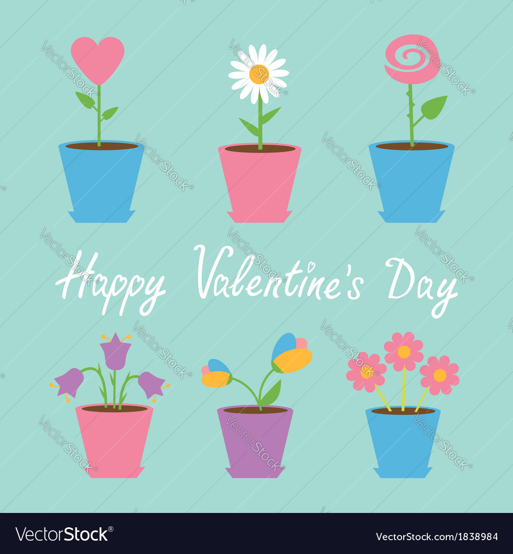 Set of six flowers in pots blue valentines day vector | Price: 1 Credit (USD $1)