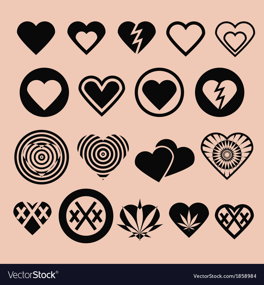 Set of various heart icons vector | Price: 1 Credit (USD $1)
