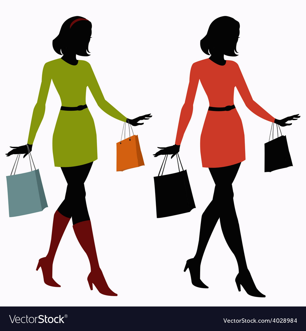 Silhouettes of girls with shopping bags vector | Price: 1 Credit (USD $1)