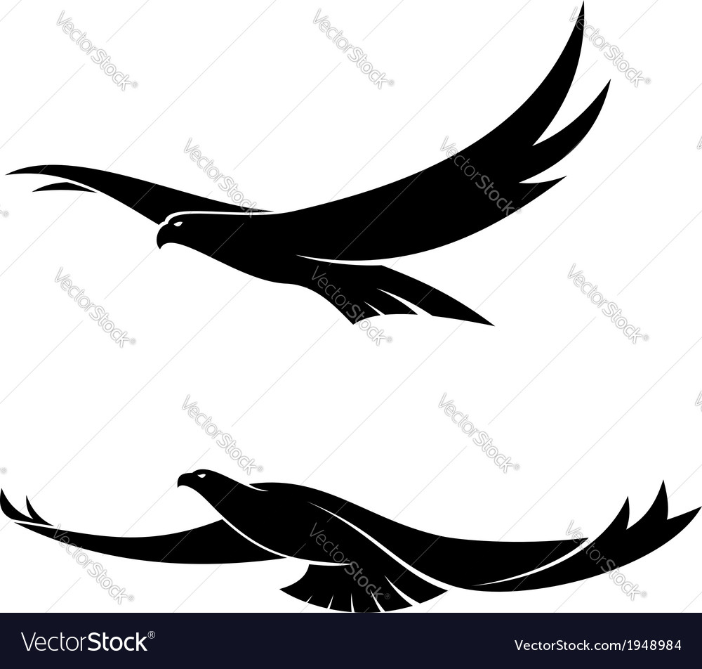 Two graceful flying birds vector | Price: 1 Credit (USD $1)