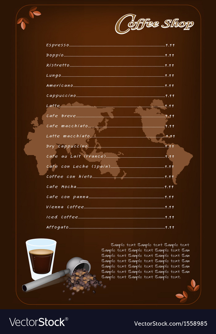 A coffee menu template for cafe and coffeehouse vector | Price: 1 Credit (USD $1)