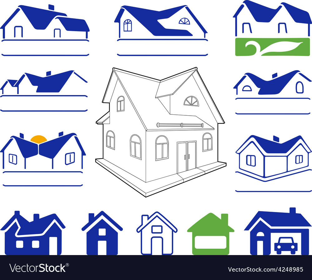 Buildings signs logo set vector | Price: 1 Credit (USD $1)