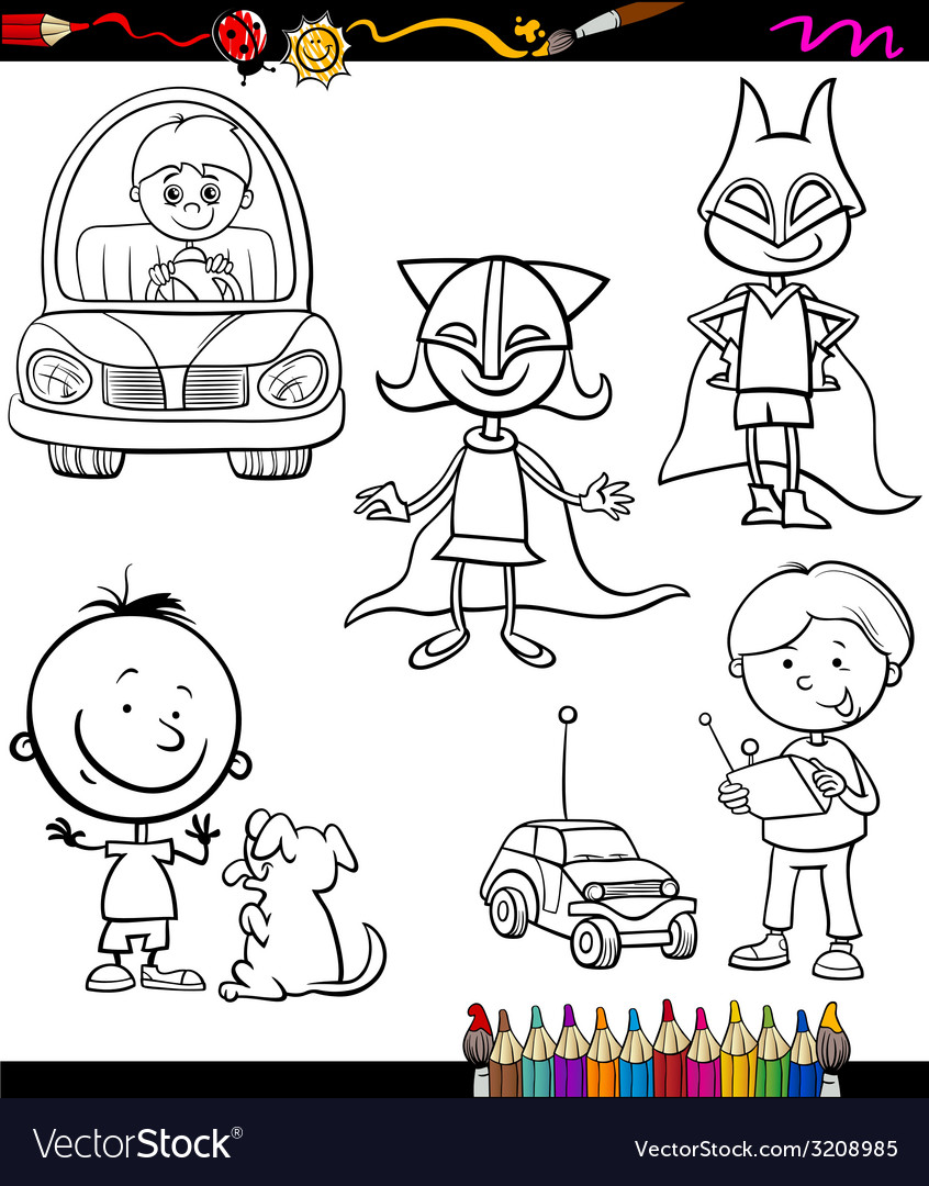 Children set cartoon coloring page vector | Price: 1 Credit (USD $1)