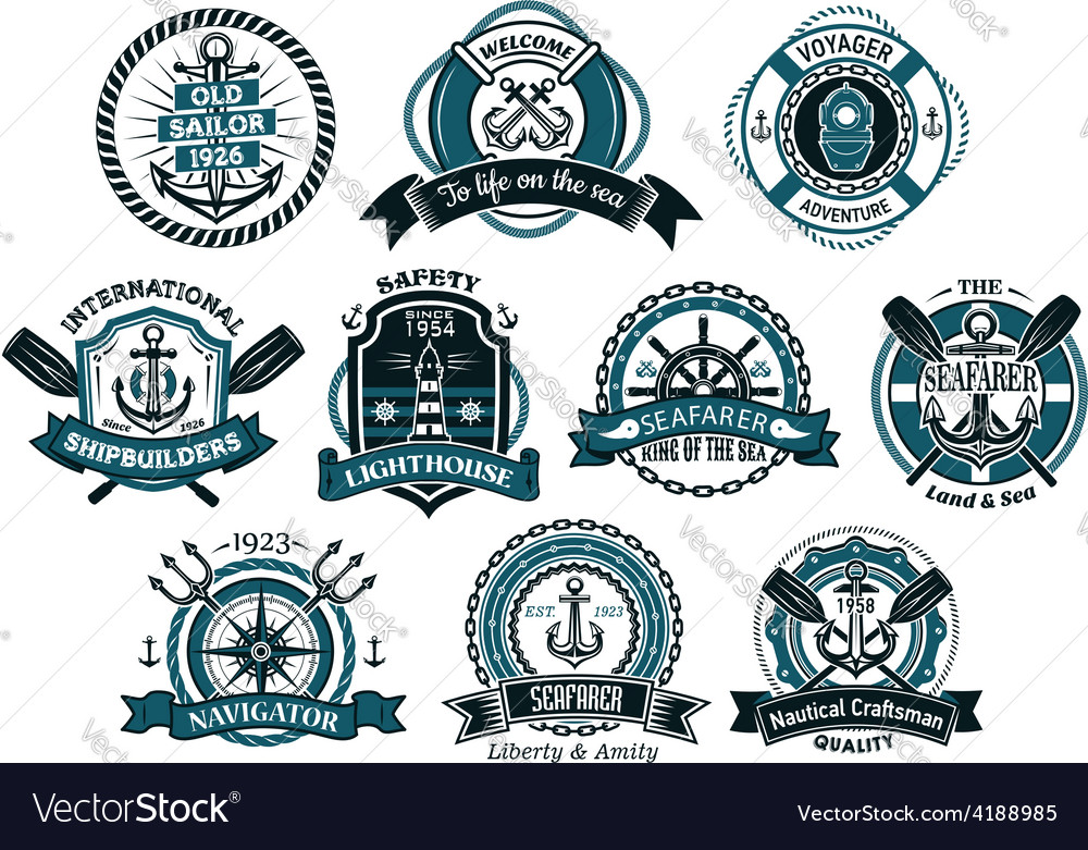 Creative seafarers or nautical logos and banners vector | Price: 1 Credit (USD $1)