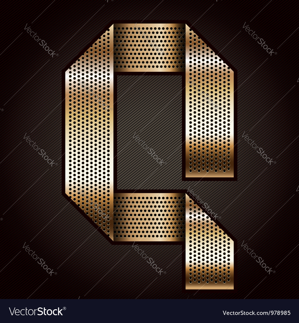 Letter metal gold ribbon - q vector | Price: 1 Credit (USD $1)