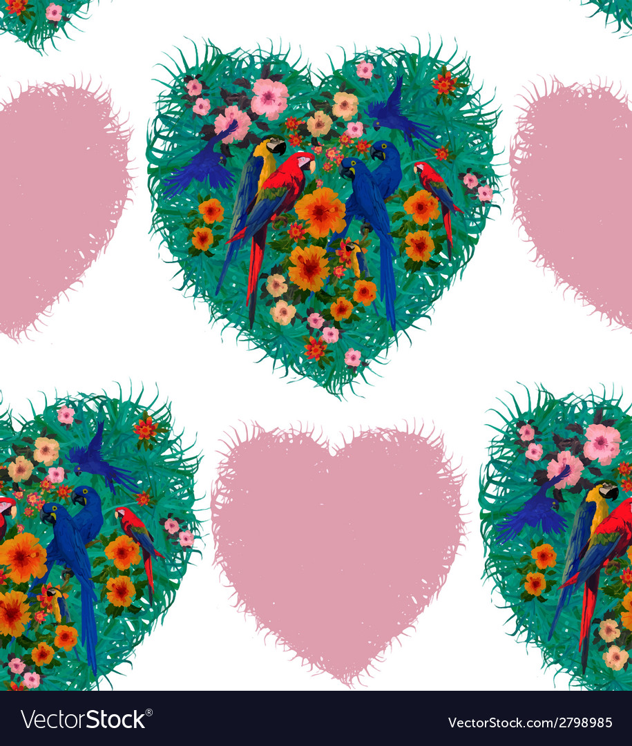 Macaw hearts seamless pattern hand drawn vector | Price: 1 Credit (USD $1)