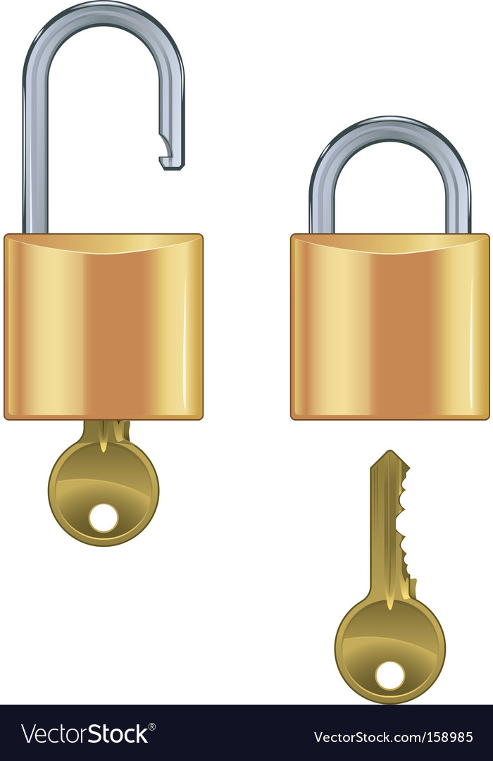 Open and closed padlock set vector | Price: 1 Credit (USD $1)