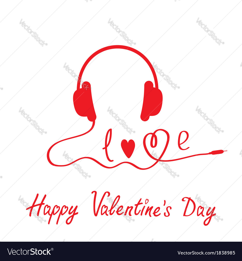 Red headphones happy valentines day card vector | Price: 1 Credit (USD $1)