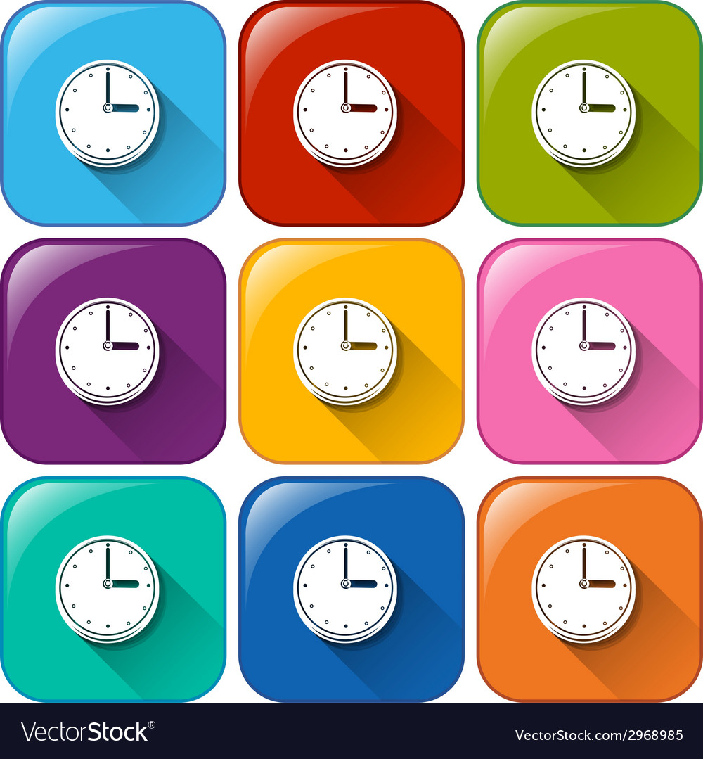 Rounded icons with clocks vector | Price: 1 Credit (USD $1)