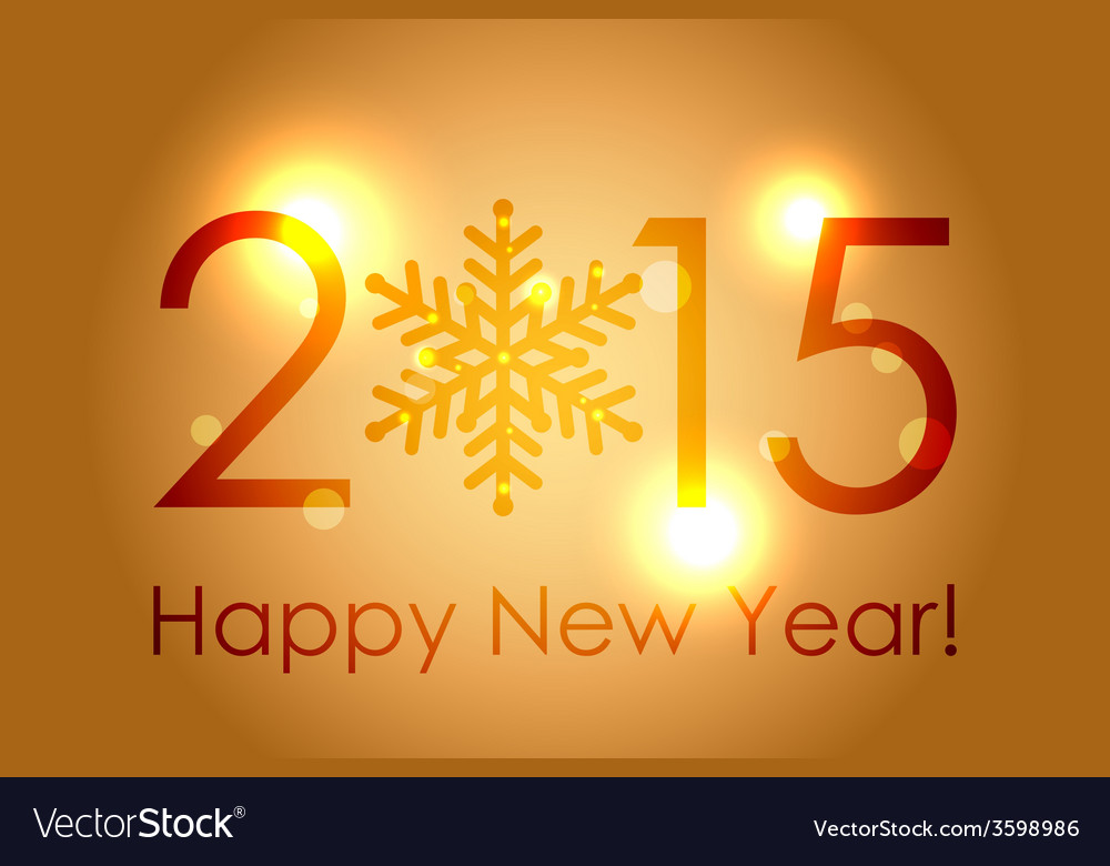 - happy new year 2015 - gold glowing background vector | Price: 1 Credit (USD $1)
