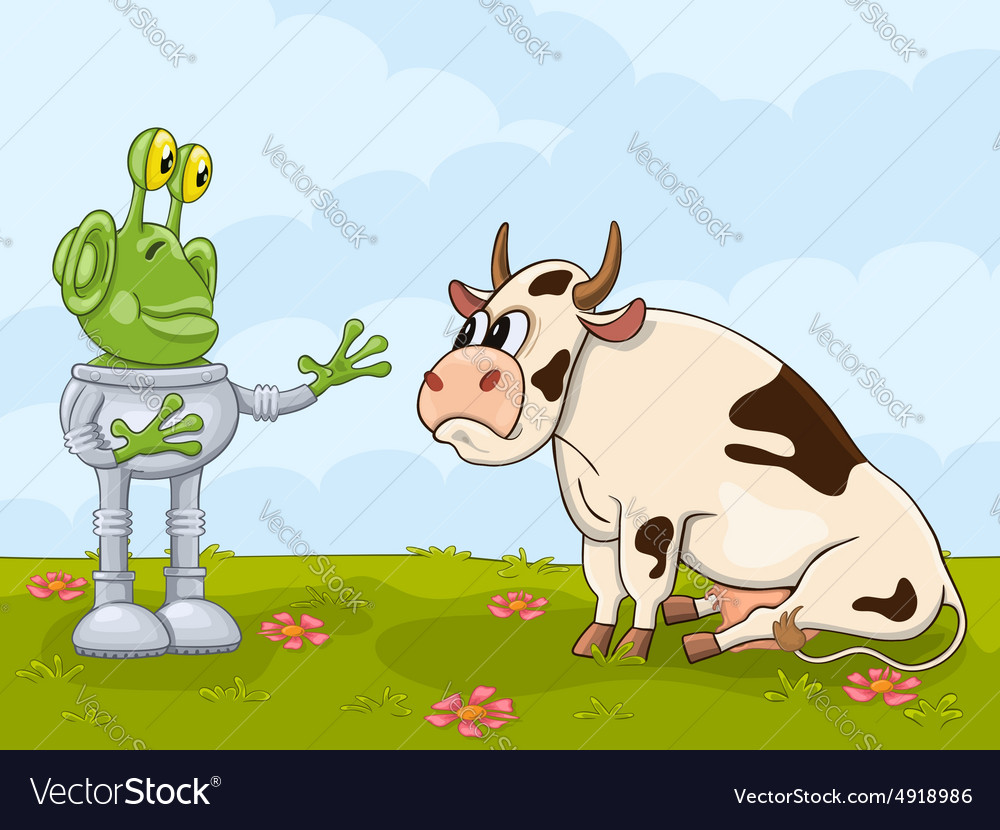 Alien and cow meeting vector