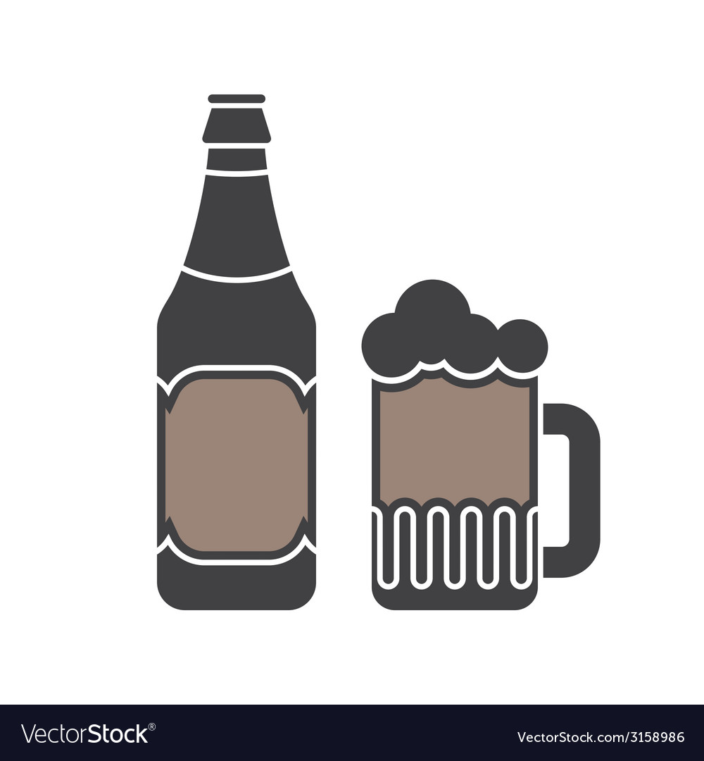 Beer bottle and glass silhouettes vector | Price: 1 Credit (USD $1)