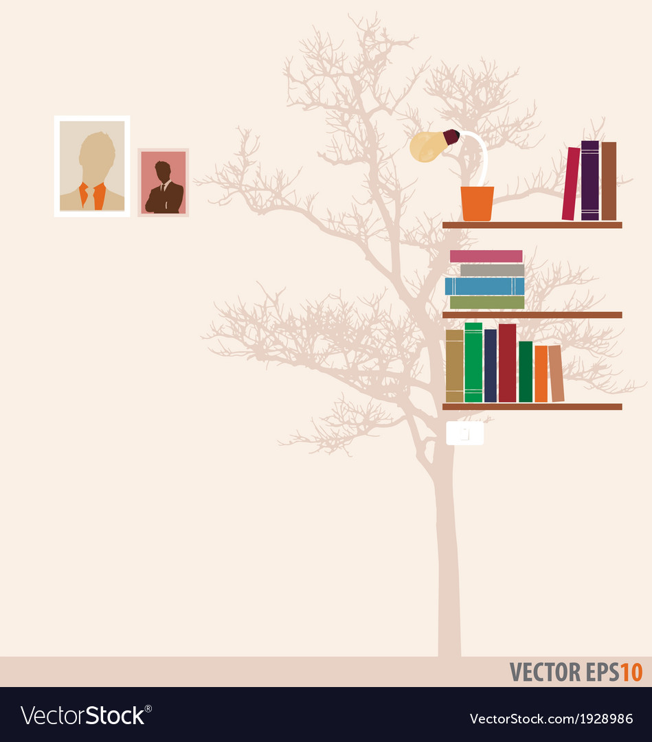 Bookshelf and tree wallpaper vector | Price: 1 Credit (USD $1)