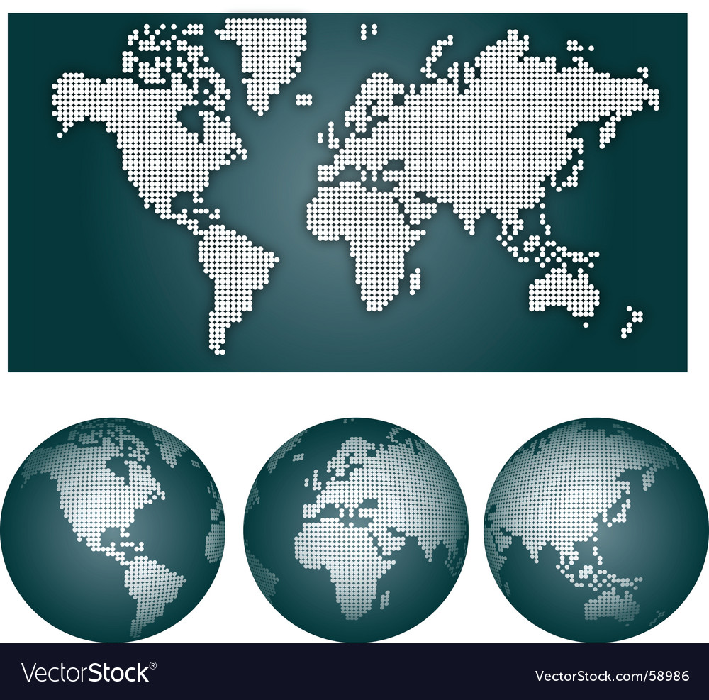 Dotted world map vector | Price: 1 Credit (USD $1)