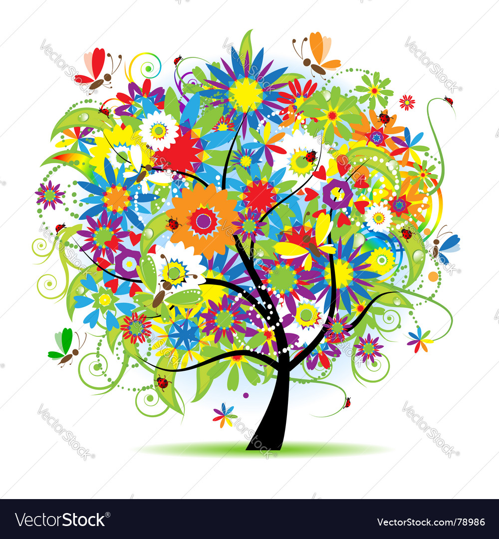 Floral tree vector | Price:  Credit (USD $)