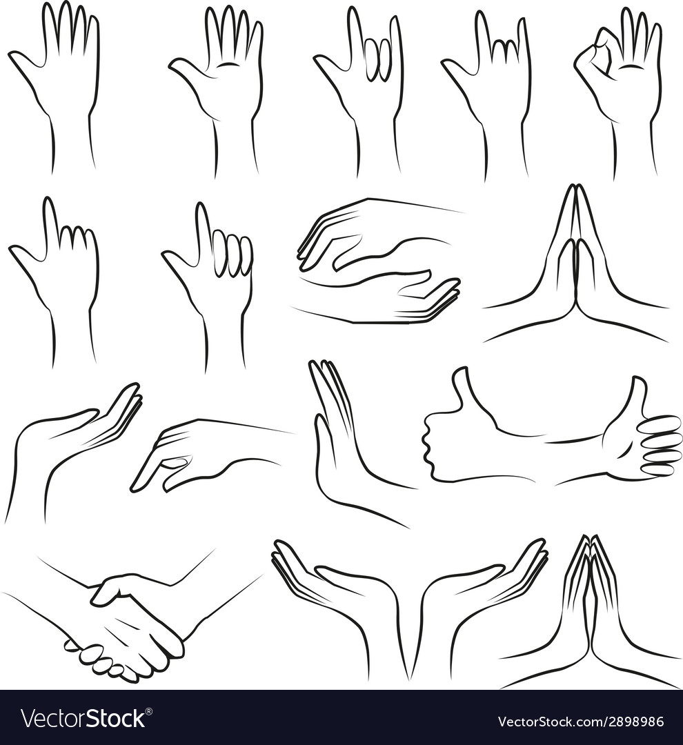 Hand set on white blackground vector | Price: 1 Credit (USD $1)