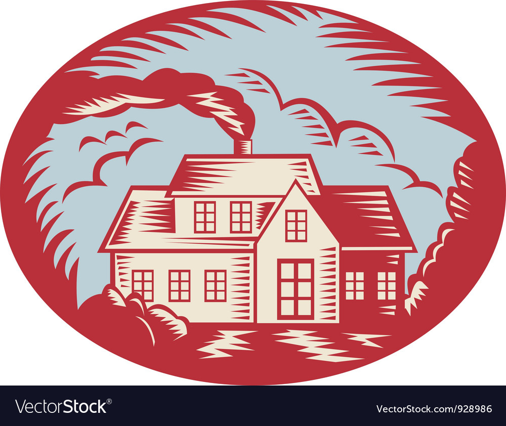 House homestead cottage woodcut vector | Price: 3 Credit (USD $3)