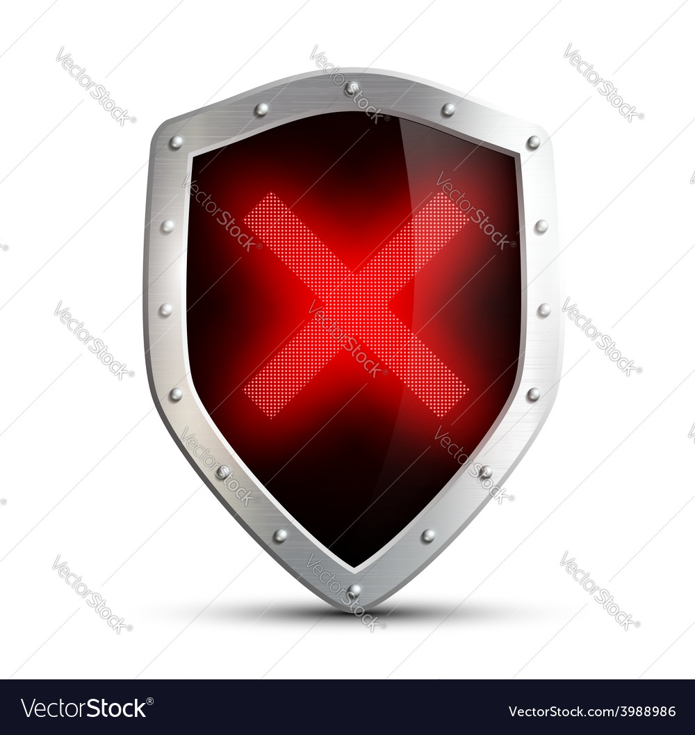 Metal shield with a digital sign ban isolated on vector | Price: 1 Credit (USD $1)