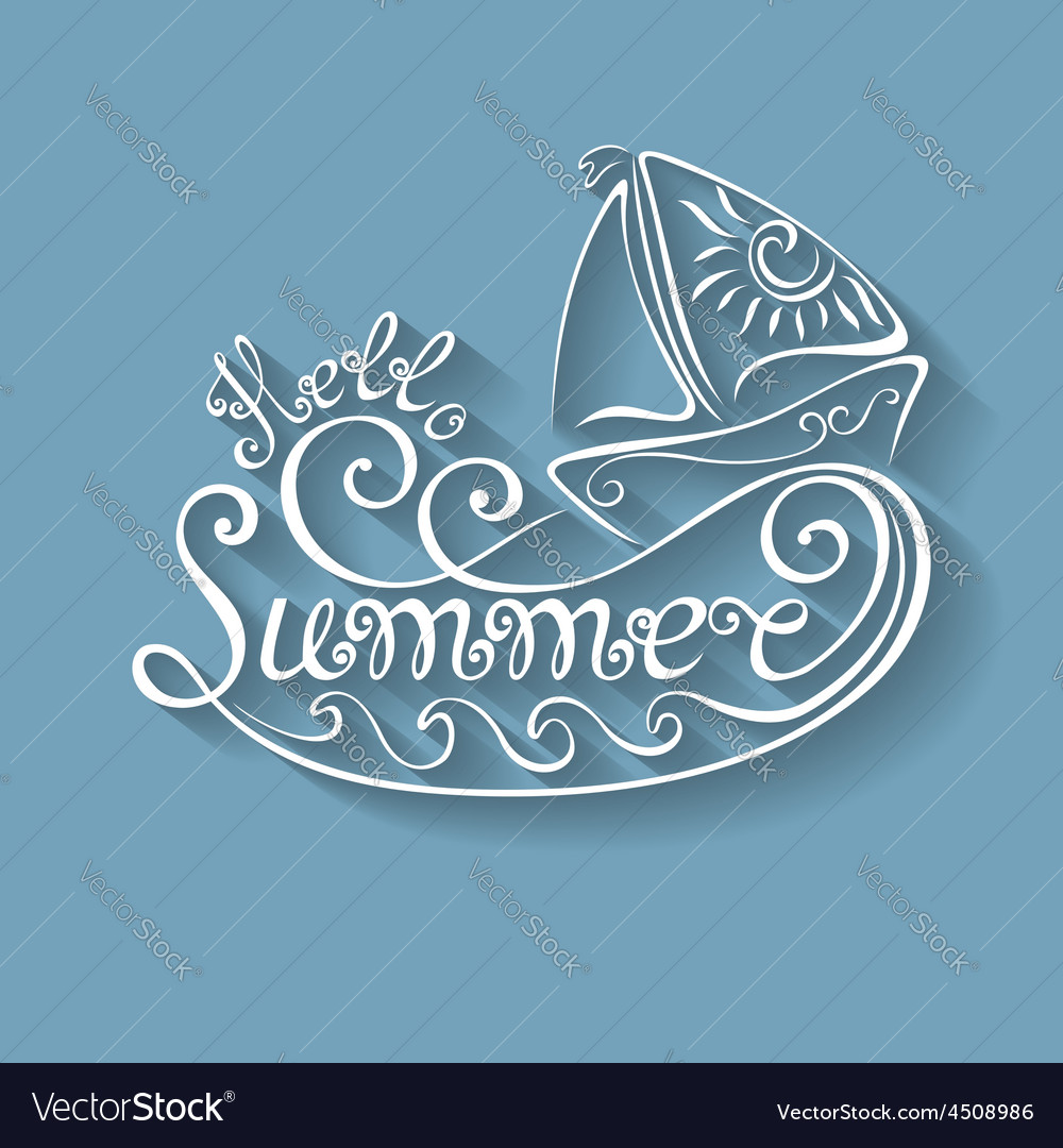 Name of season of the year hello summer vector | Price: 1 Credit (USD $1)
