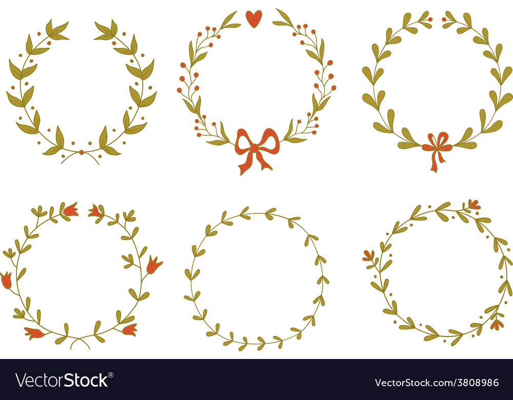 Set of beautiful floral wreaths vector | Price: 1 Credit (USD $1)
