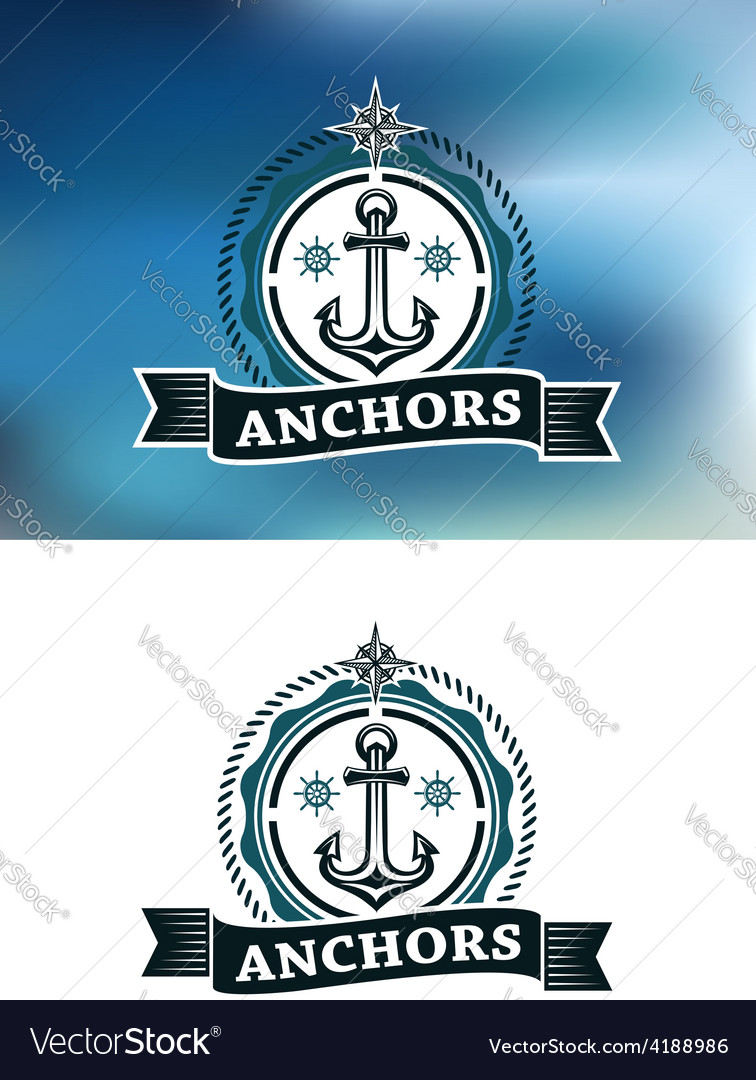 Ship anchor in round rope border vector | Price: 1 Credit (USD $1)