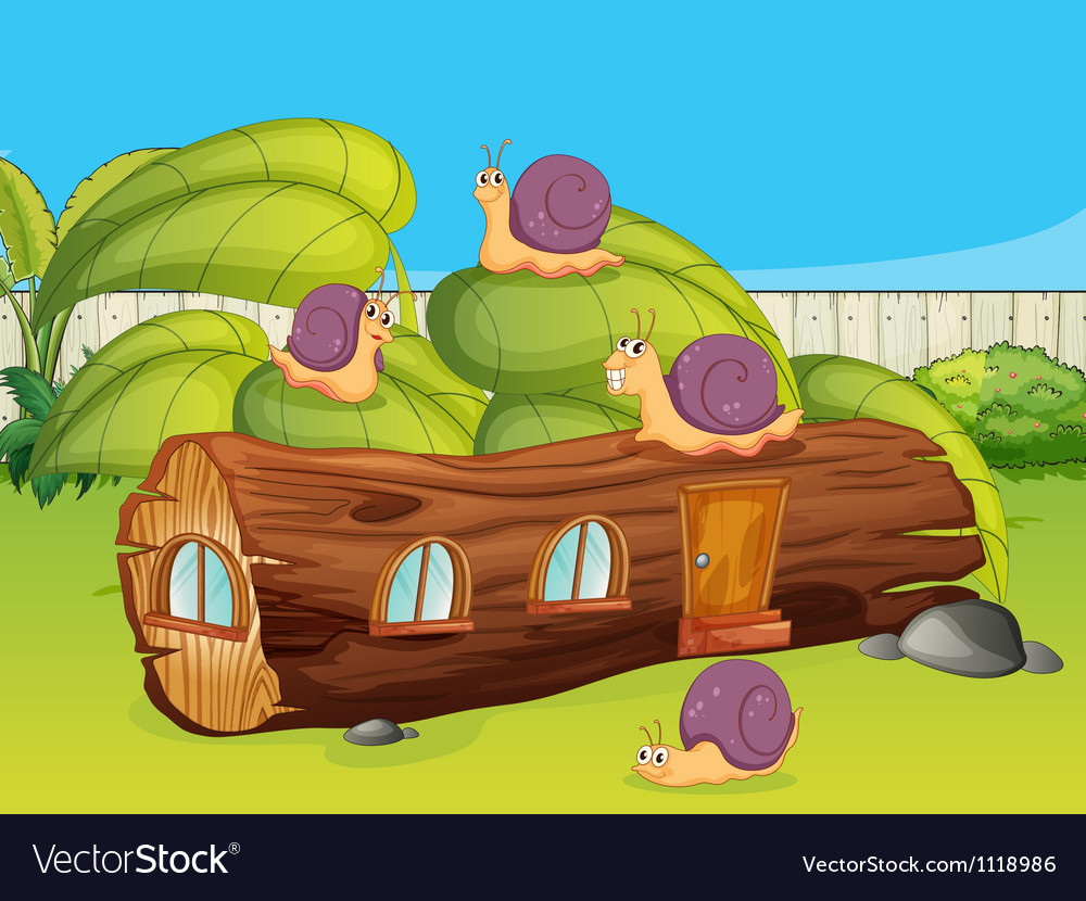Snails and a wood house vector   Price: 1 Credit (USD $1)