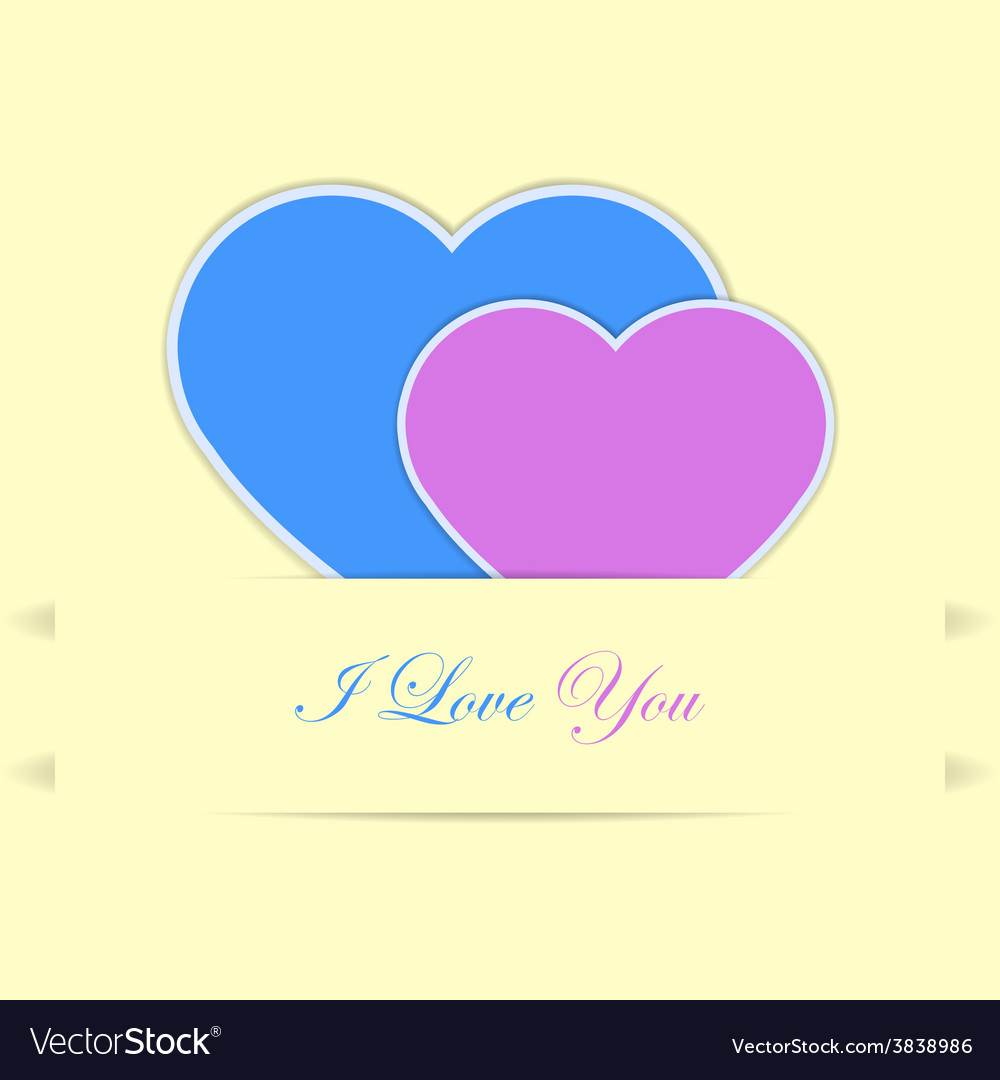 Valentine card with blue and pink hearts vector | Price: 1 Credit (USD $1)