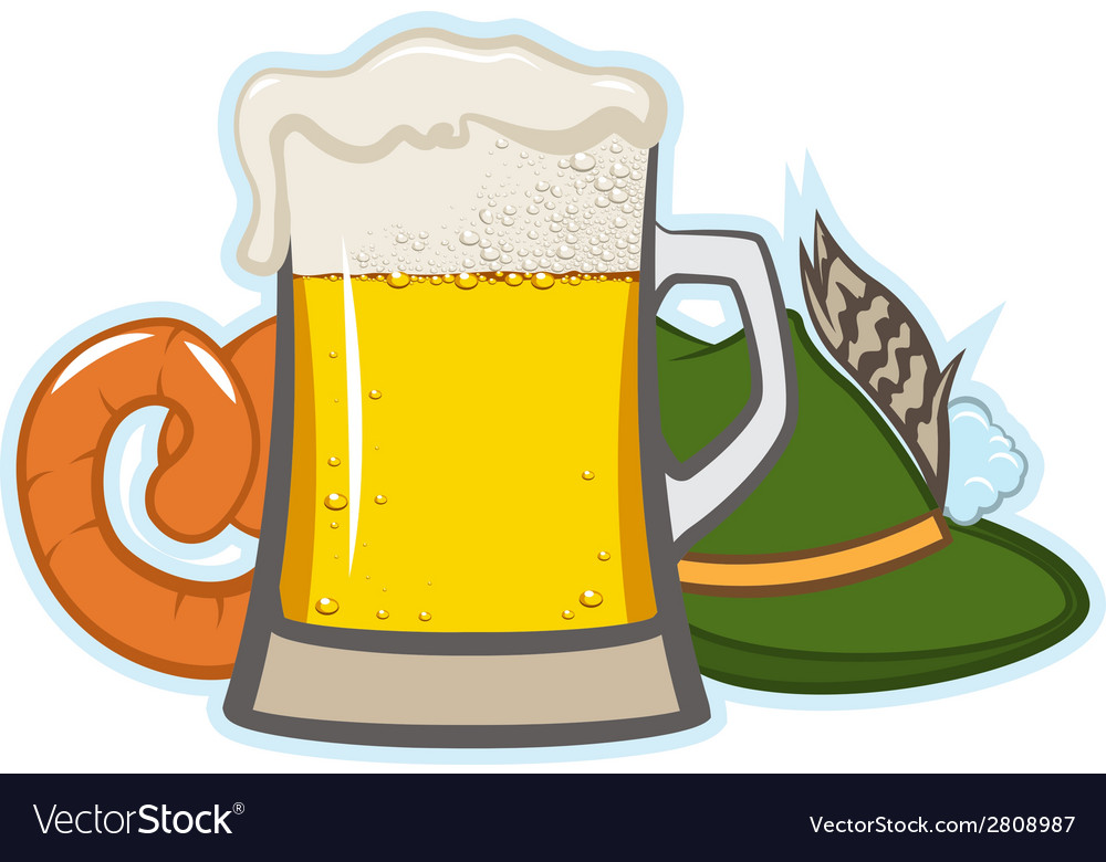 A glass of beer hat with feather and sausage vector | Price: 1 Credit (USD $1)