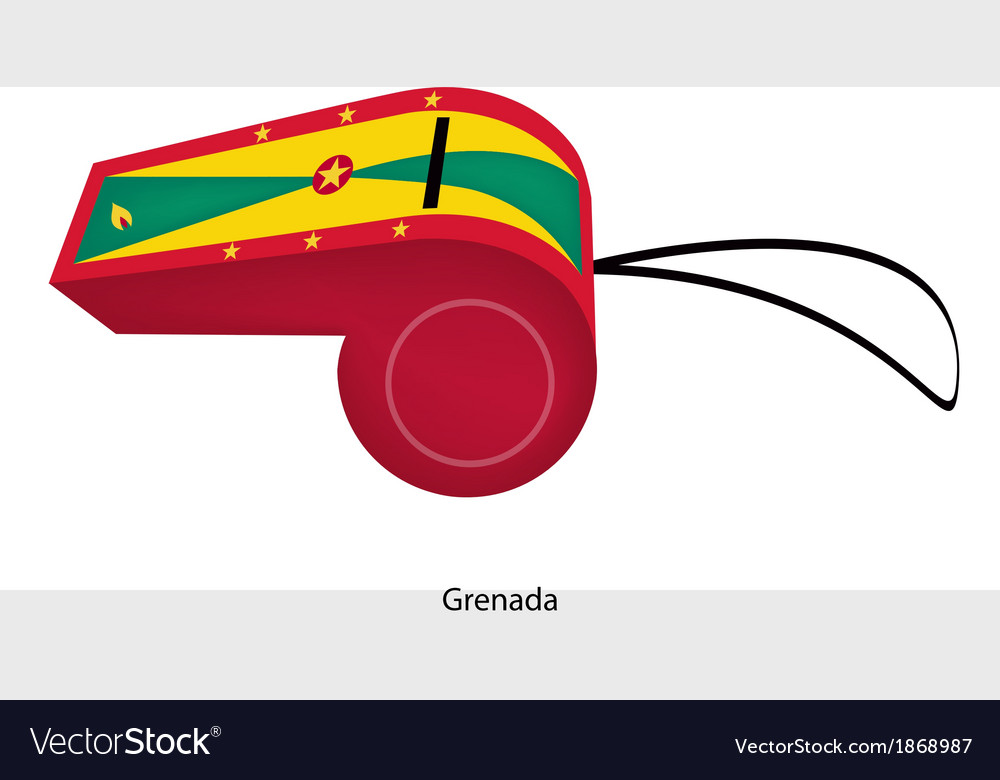 A red yellow and green whistle of grenada vector | Price: 1 Credit (USD $1)