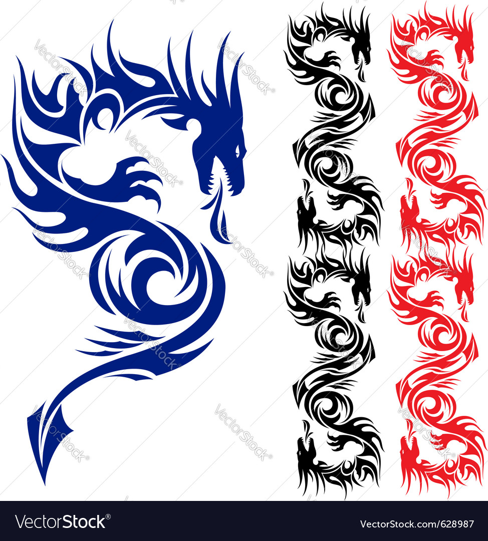 Asian tattoo dragon vector | Price: 1 Credit (USD $1)