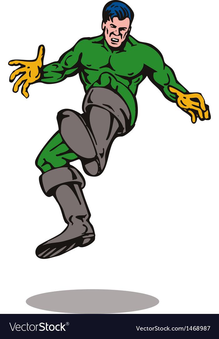 Cartoon super hero kicking vector | Price: 1 Credit (USD $1)