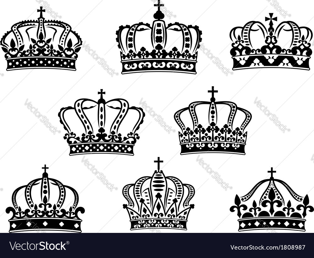 Collection of heraldic royal crowns vector | Price: 1 Credit (USD $1)