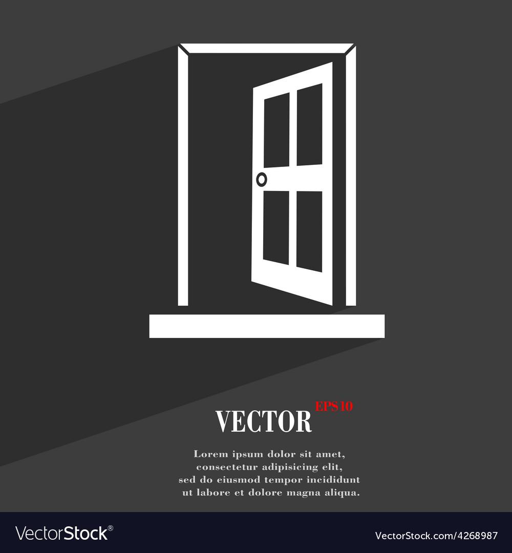 Door enter or exit icon symbol flat modern web vector | Price: 1 Credit (USD $1)