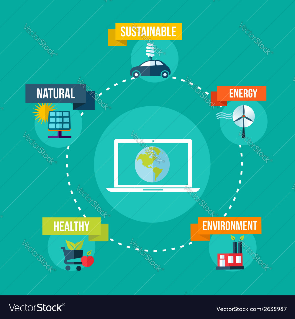 Ecology and technology concept flat design vector | Price: 1 Credit (USD $1)