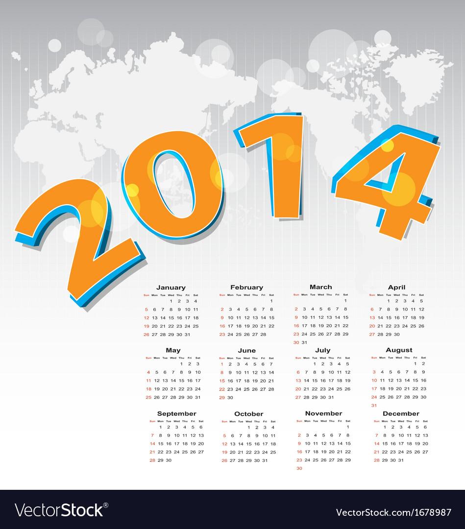 New year 2014 calendar vector | Price: 1 Credit (USD $1)