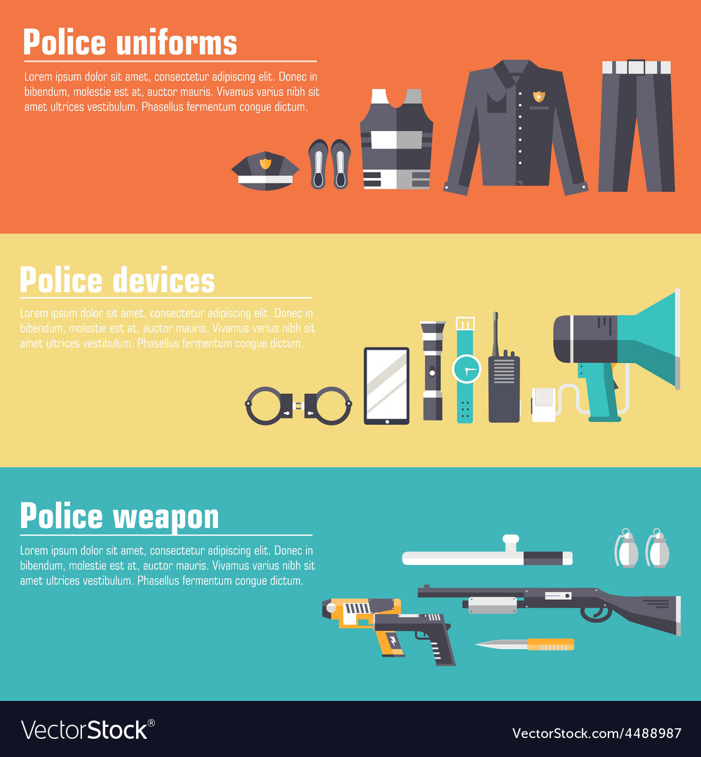 Police uniform and set protection staff equipment vector | Price: 1 Credit (USD $1)