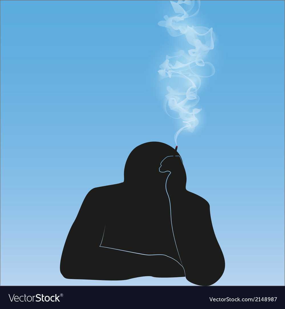 Silhouette smoking person background vector | Price: 1 Credit (USD $1)