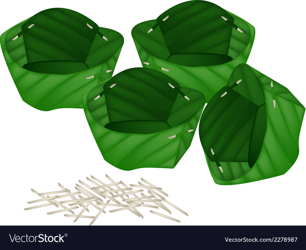 Stack of counts banana leaf or krathong vector | Price: 1 Credit (USD $1)