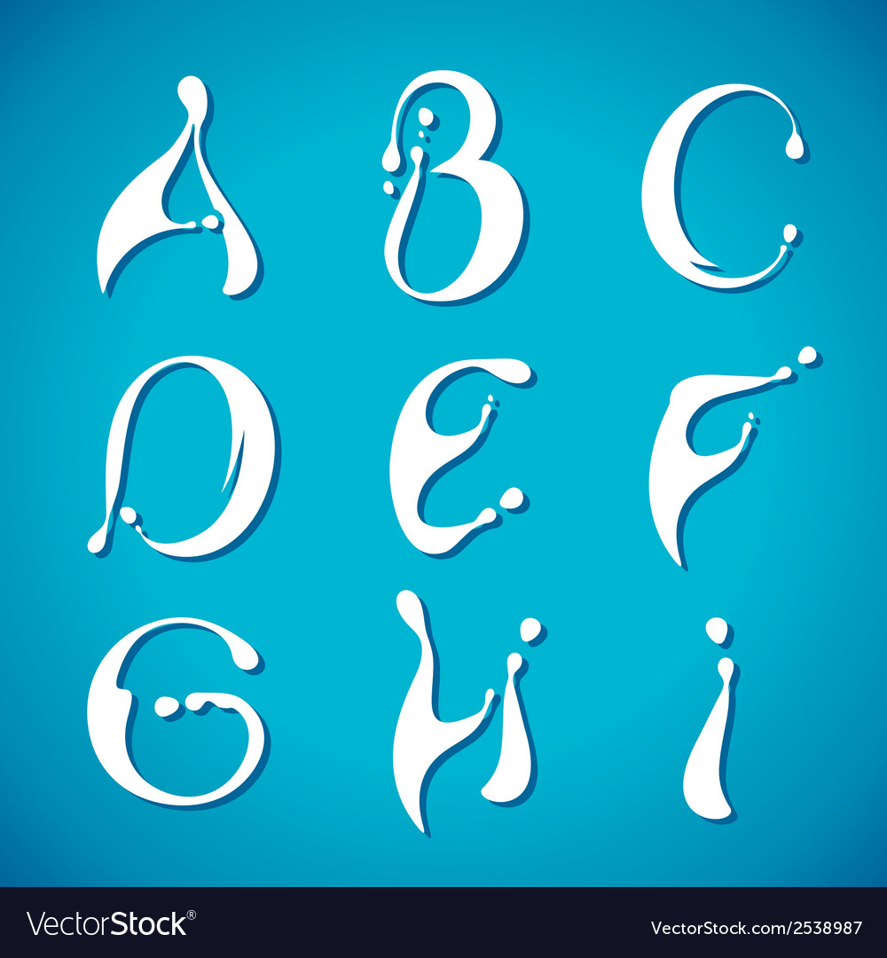 Water milky alphabet vector | Price: 1 Credit (USD $1)