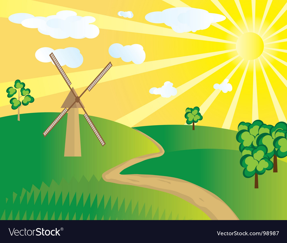 Windmill in the field vector | Price: 1 Credit (USD $1)
