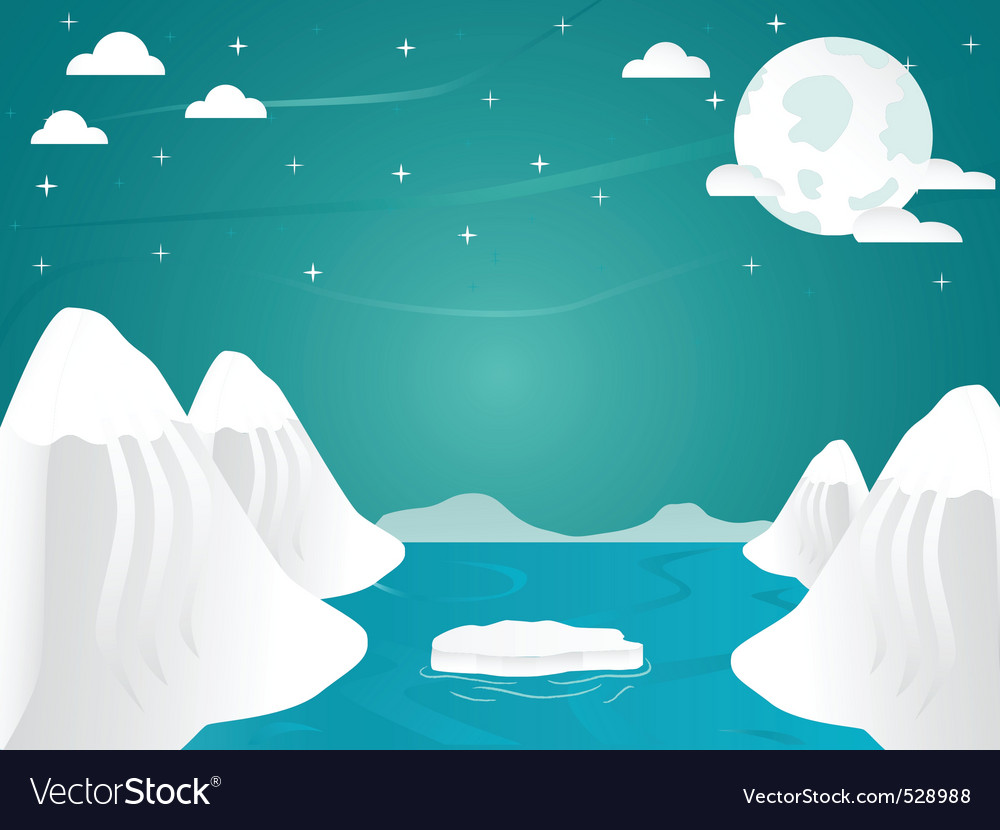 Artic landscape with icebergs in ocean mountain an vector | Price: 1 Credit (USD $1)