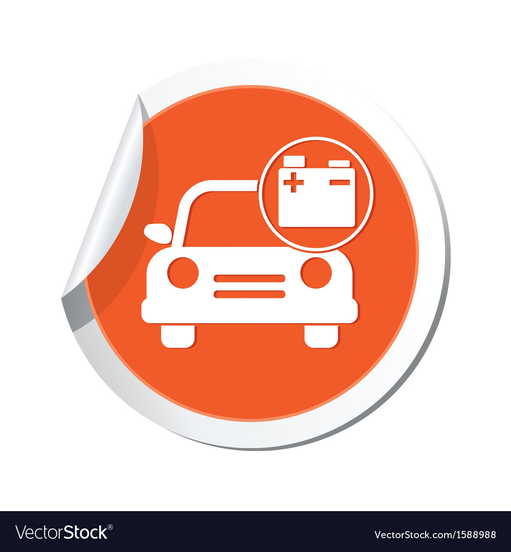 Car with accumulator icon orange label vector | Price: 1 Credit (USD $1)