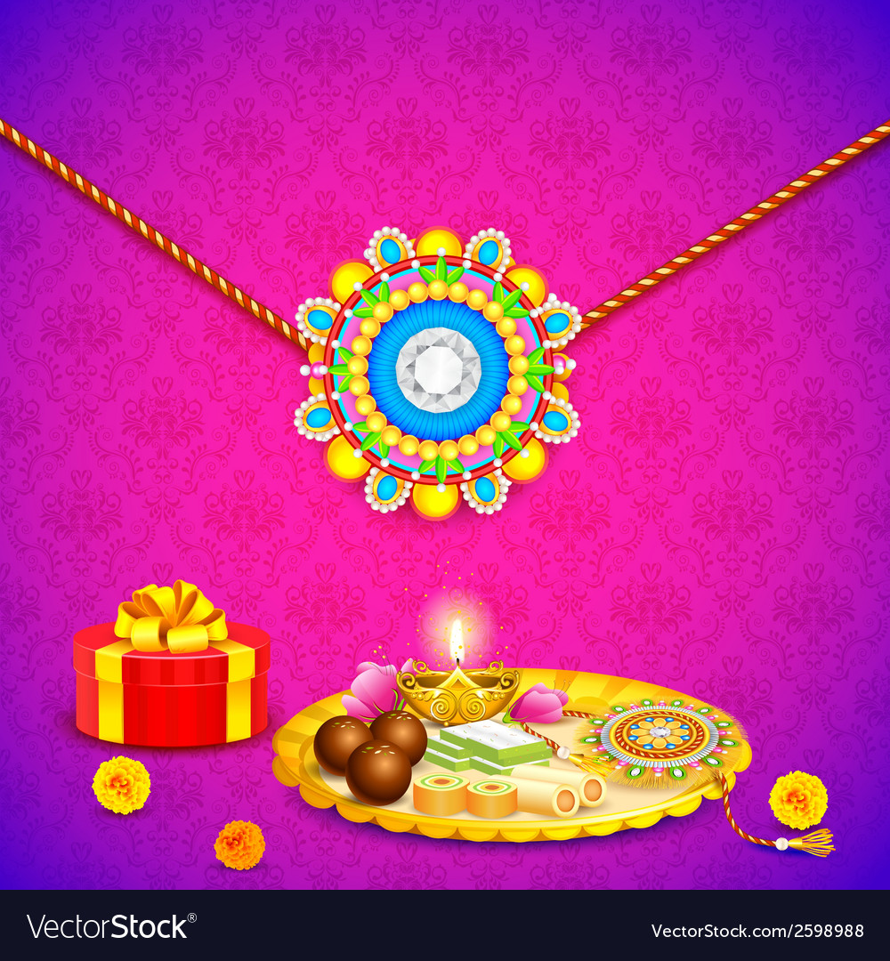 Decorated thali with rakhi for raksha bandhan vector | Price: 1 Credit (USD $1)